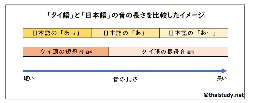 タイ語と日本語の音の長さの比比較イメージ